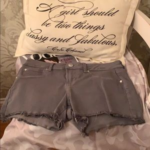 Grey Jean Shorts with Silver Buttons